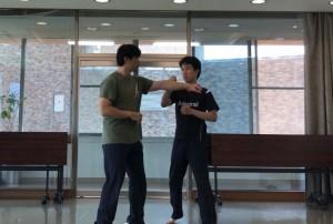 【10/6(土)システマ南埼玉の練習風景③】 呼吸を活用して、動きの早さと速さを増す練習。攻め手のプッシュに対し、受け手は体に触れさせずにかわします。攻め手は次第にプッシュを速くしてストライクに。受け手は、呼吸も活用して、起こりを早く、動きを速くして、かわしていきます。
