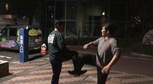 【5/2(木)システマ夜練の練習風景②】 続いて、自分とYさんの対戦。